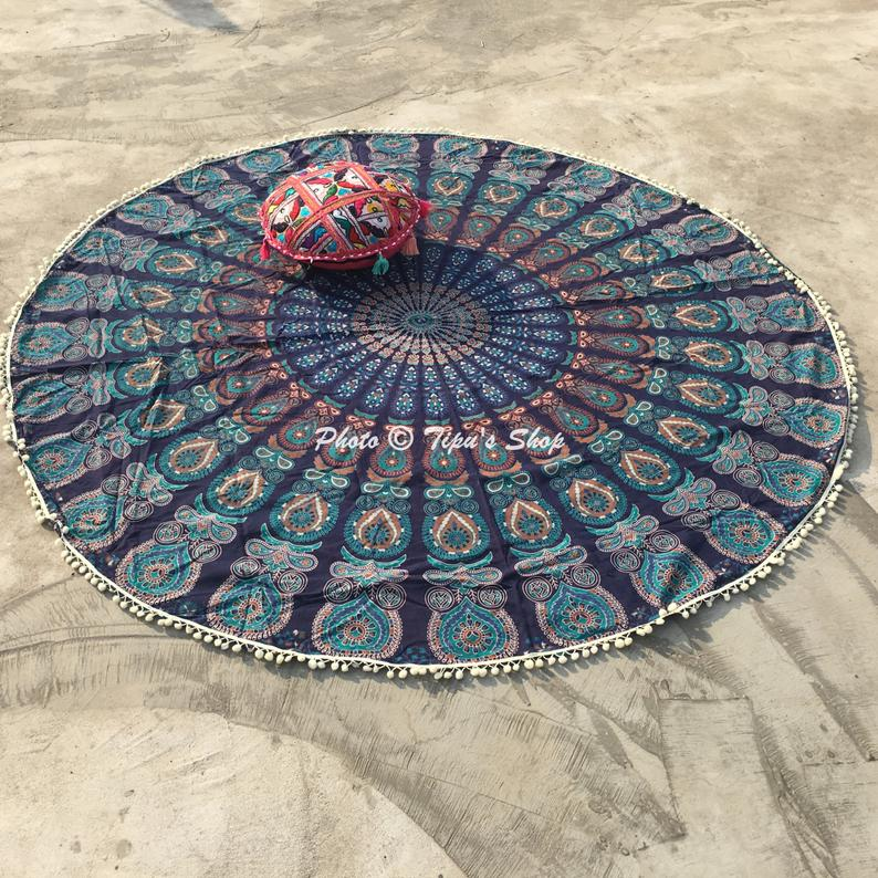 Large Mandala Wall Hanging Blue Green Peacock Feather Hippie Beach Throw Picnic Blanket Yoga Mat Towel Dorm Decor Bohemian Mandala Tapestry