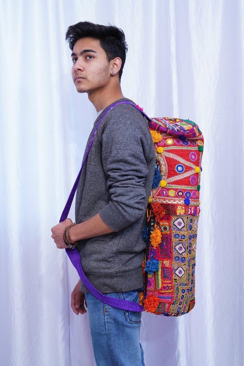 Mirror Work Yoga Bag ,Embroidered Cotton yoga mat Bag , Vintage Yoga Bag with cotton Ball ,Handmade yoga mat bag ,Gift For Yogis & Yoginis
