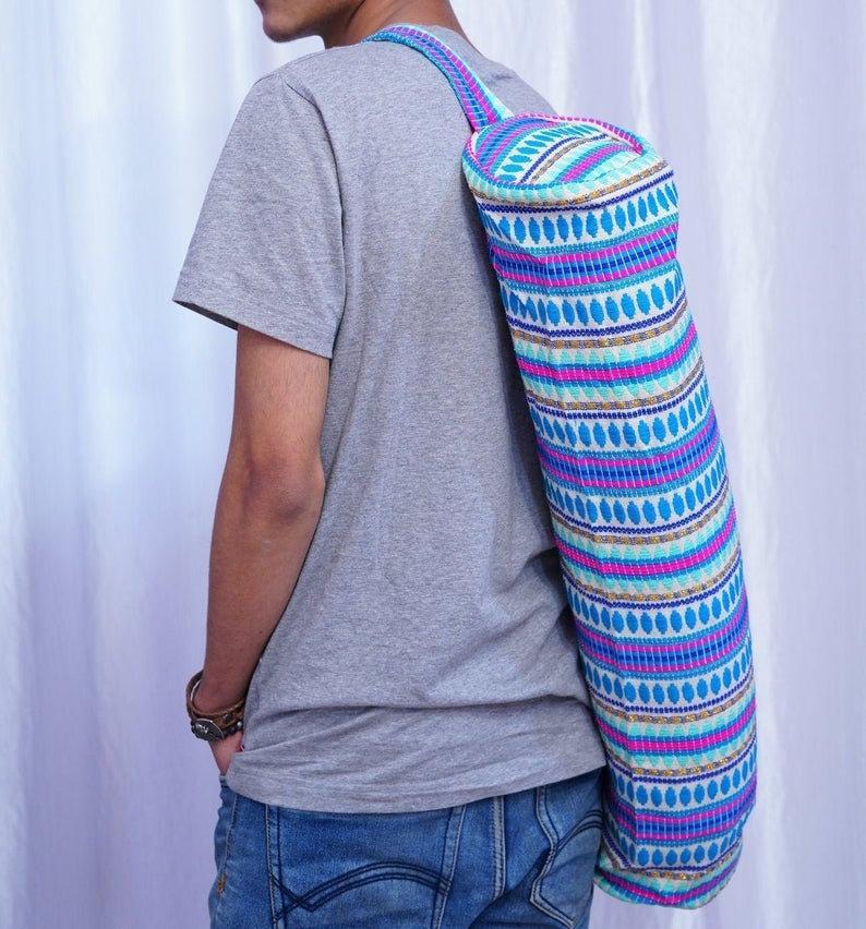 Vintage Yoga mat Bag Combo , Cotton yoga mat Bag , Yoga Mat Bag ,, Yoga Bag , Organic Cotton ,handmade yoga mat bag ,Gift For Yogis & Yogis