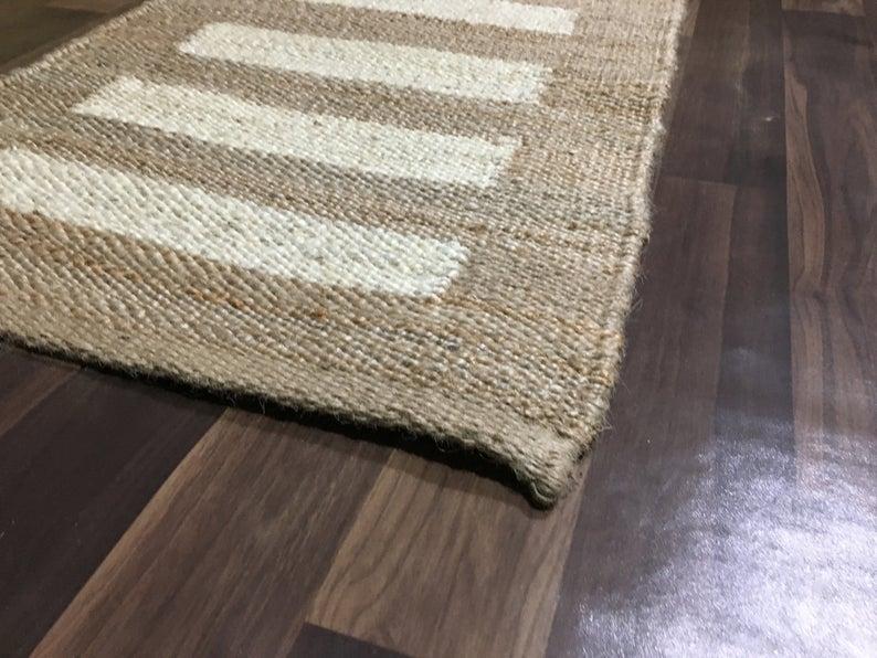 2.5×6,2.5×8,2.5×10,2.5×12,2.5×16,2.5x20Ft. Hand loom Jute Runner Rug Handmade jute Jute Yoga mat throw carpet  Decorative Rug hallway runner