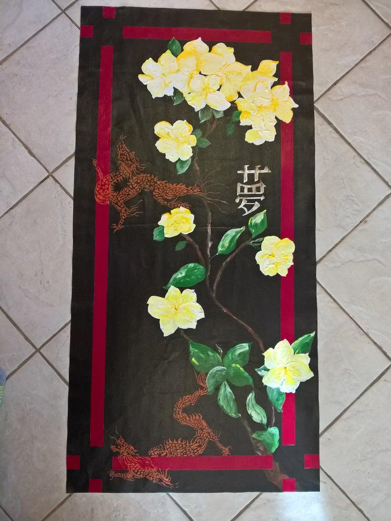 Dragon Garden Floorcloth/ Custom Hand Painted/ Various Sizes/ Indoor/ Outdoor