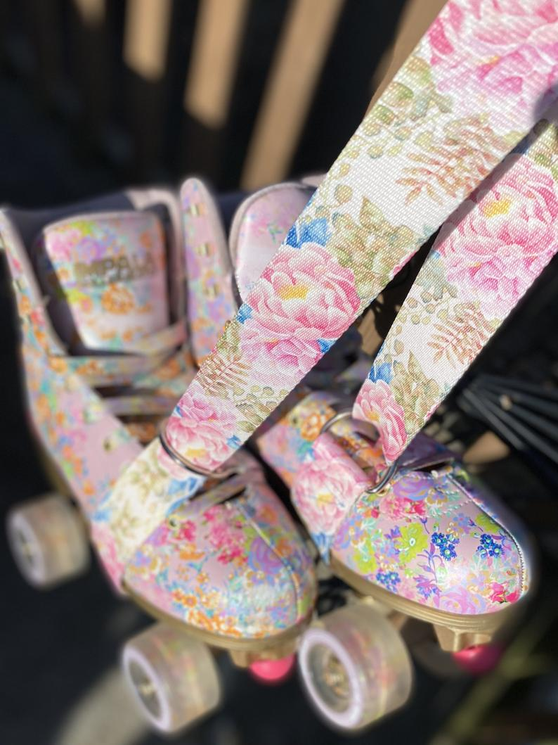 Pink Peonies Roller Skate Leash, Yoga Mat Strap, Skateboard Leash, Roller Skate Strap, Skateleash
