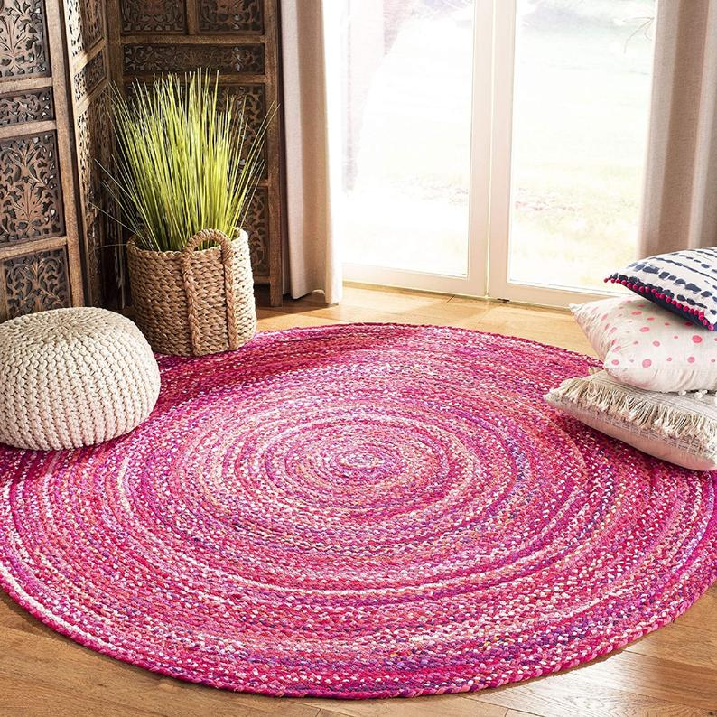 RUG Hand Braided 100% Cotton Pink Pattern New Design Printed Indian Stylish Modern Yoga Mat Hand Made Braided Carpet Rug Rag For Living Home