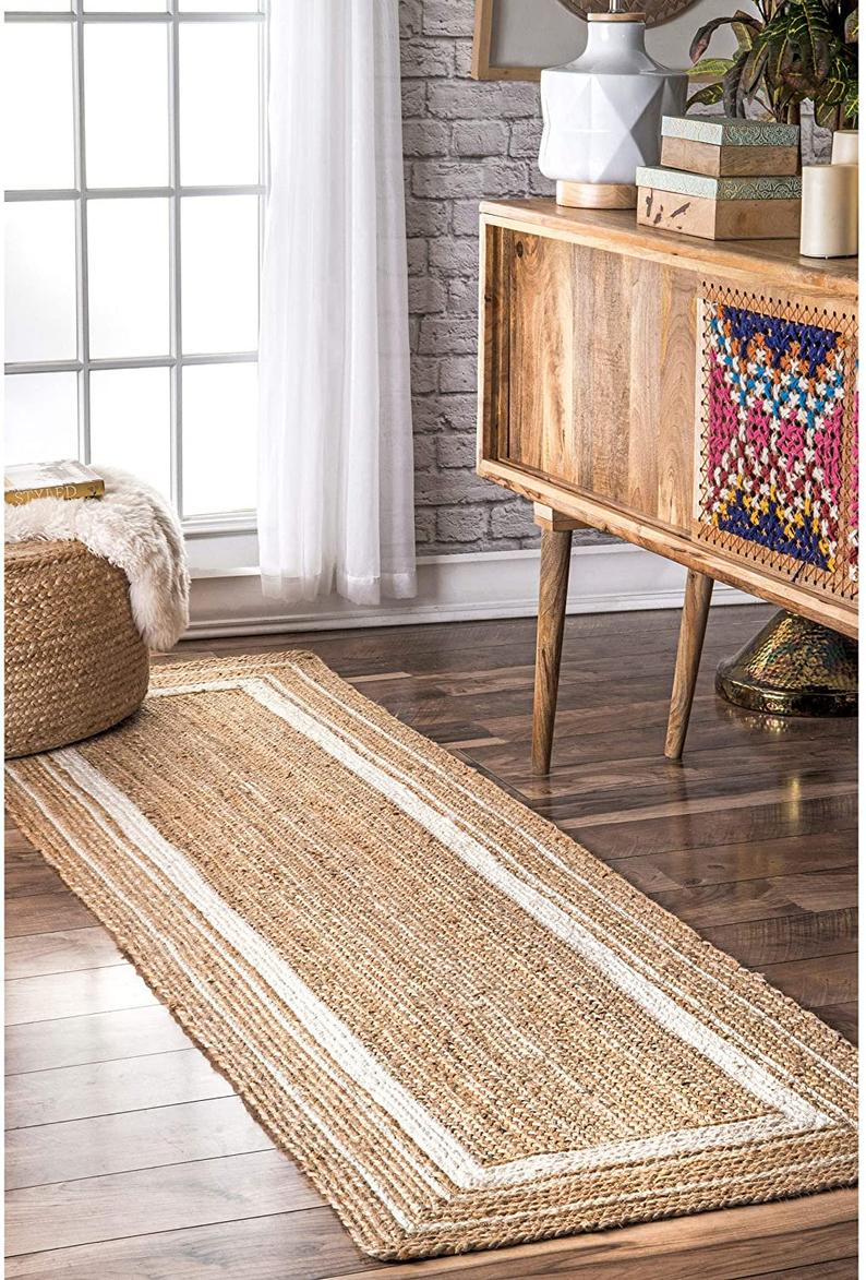 2×6,2×8,2×10,2×12,2×14,2×16,2×20′ Ft. Indian Hand Braided Jute Runner Rug with white Color Area Rugs Home Decor Rugs flat woven rug yoga mat