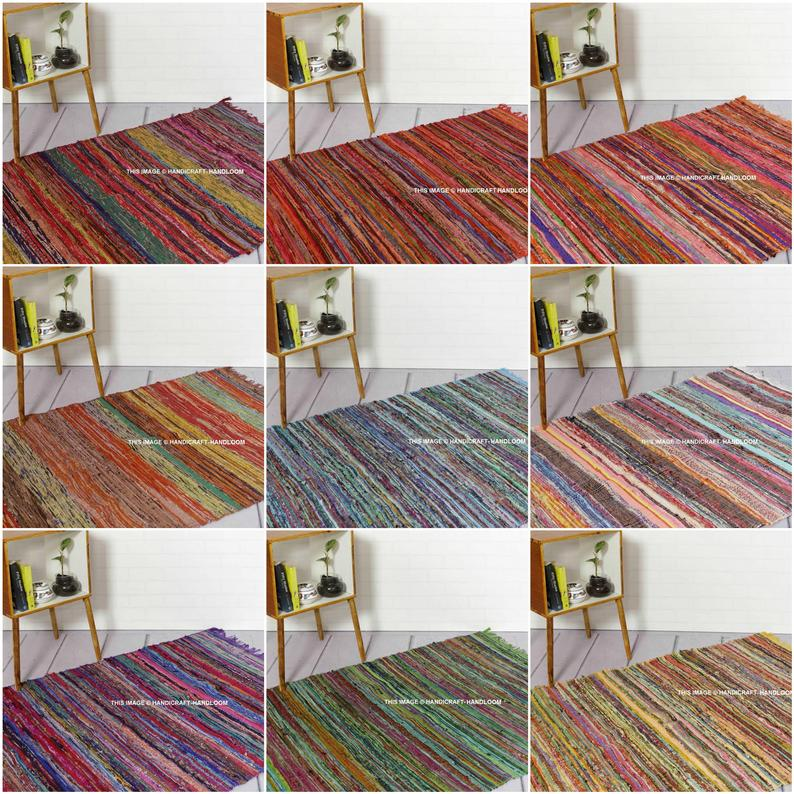 vintage Chindi Area Carpet Rugs Indian Hand Braided Bohemian Colorful Cotton Chindi Area Rug floor Decor Mat Yoga Mat Boho recycled Rag rugs