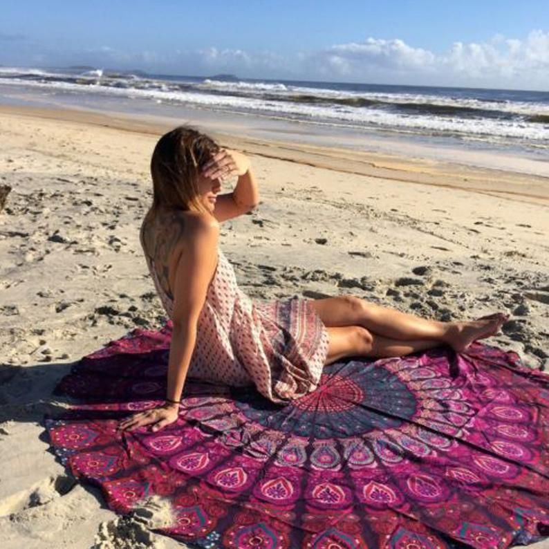 Peacock Tapestry Roundie Beach Blanket Home Decor Meditation Mat Cotton Wall Hanging Ethnic Throw Towel Yoga Mat Bedspread Handmade Tapestry