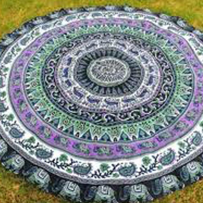 Hippie Round Tapestry Wall Hanging Beach Throw New Yoga Mat Mandala Tapestry Handmade Psychedelic Round Roundie Tapestries