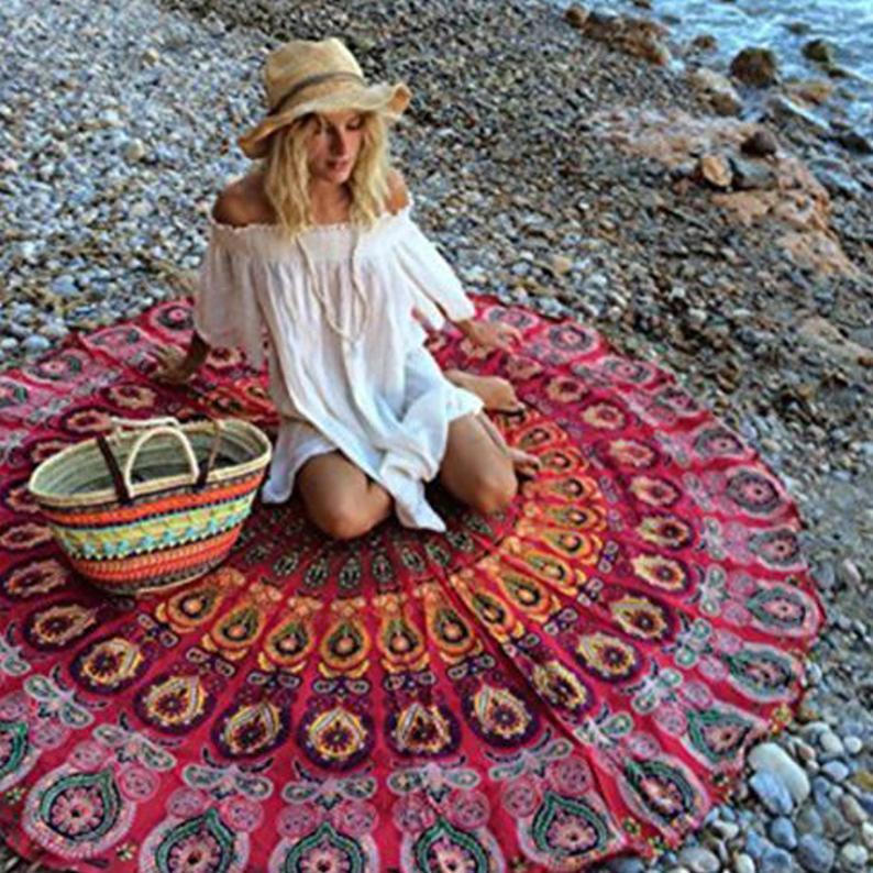 Wall Hanging Boho Bohemian Meditation Beach Blanket Towel Yoga Mat Round Table Cover Picnic Beach Towel Cotton Mandala Blanket Gift for Her