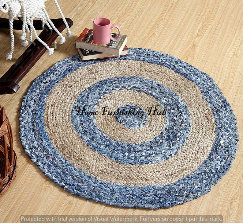 Bohemian Jute Denim Cotton Handmade Home Decor Rugs Round Chindi Rug Braided Braided Rag Rug Mediation Area Rug Mat Carpet Dhurrie Rug
