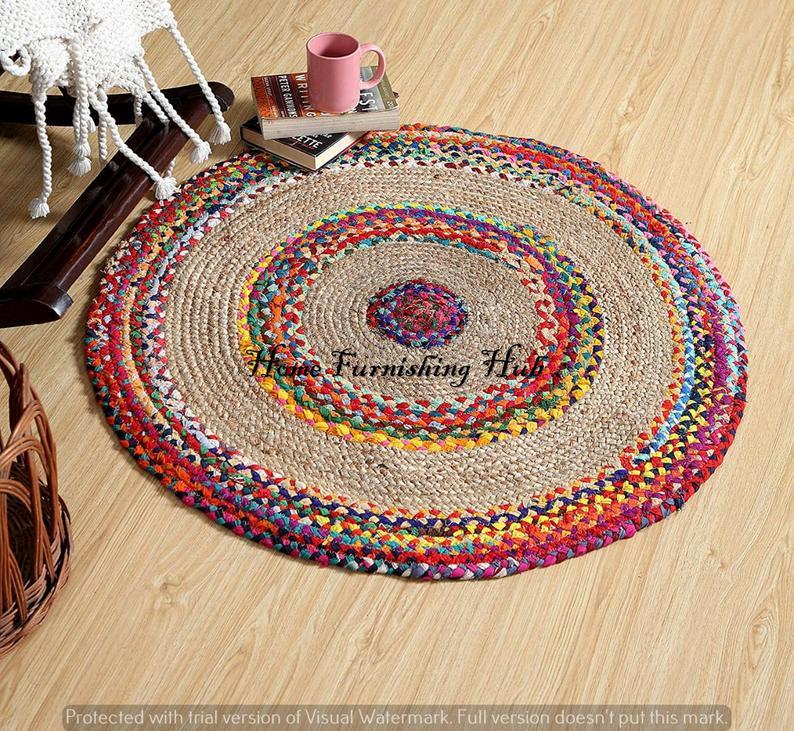 Bohemian Colorful Jute Cotton Round Chindi Rug Braided Handmade Home Decor Rugs Braided Rag Rug Mediation Area Rug Mat Carpet Dhurrie Rug
