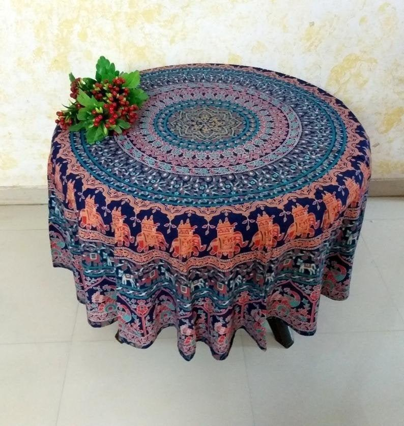 Indian Round Table Cloth | Roundie Cover | Beach Hippie Bohemian Tapestry | Boho Picnic Yoga Mat Beach Tapestry