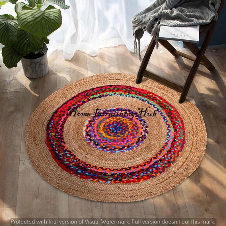 Jute Cotton Round Chindi Rug Braided Handmade Home Decor Rugs Braided Bohemian Colorful Rag Rug Mediation Area Rug Mat Carpet Dhurrie Rug