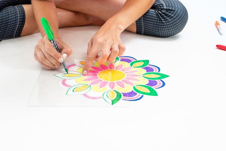 Yoga Mat Craft Kit – Custom Yoga Mat – Mandala Yoga Mat –  Personalised Gift for Her – Pilates Mat – White