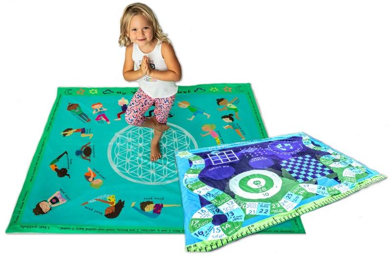 Yoga Kids Poses Mat Blanket Games Activity Blanket Soft Mink Childrens Kindergarten Toddler Kids Large Gifts