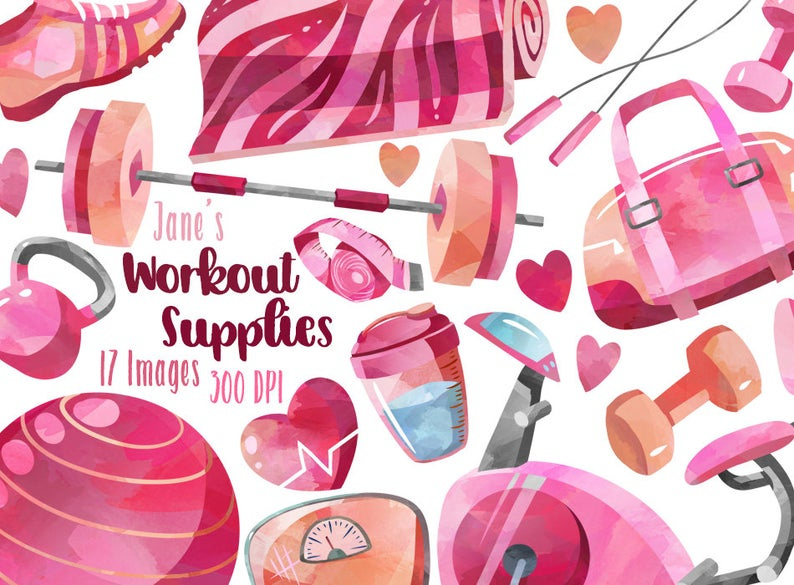 Watercolor Workout Supplies Clipart – Healthy Living Download – Instant Download – Gym – Weights – Exercise – Weight Loss