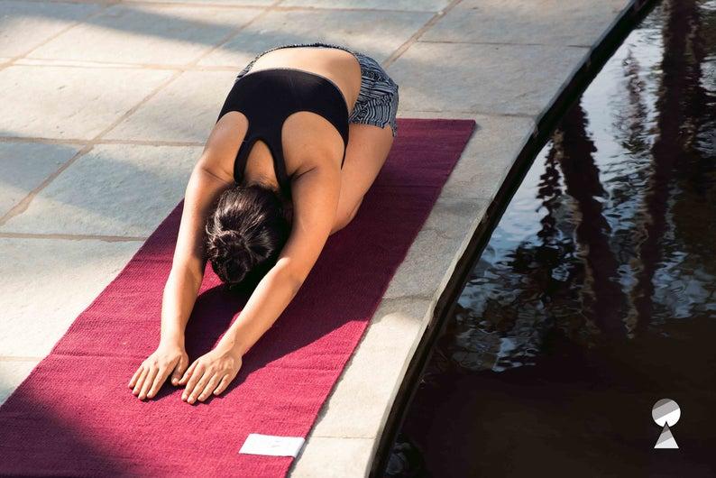 Yoga Land Guru Garnet 4mm (100% Cotton| ANTI-SKID| Washable) with Free Cotton Carry bag!