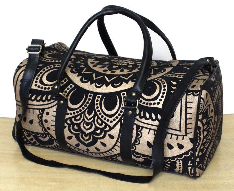 New Indian Multi Mandala Cotton Duffle Bad Mandala Art Indian Duffle Sport Gym Yoga Bag Travel Cotton Hand bag Black And Gold Color Bag