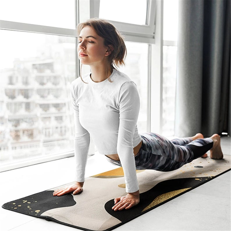 New Creative Print Fitness Yoga Mat Natural Rubber 185x68CM Pilates Tape Non-slip Indoor and Outdoor Fitness Mat