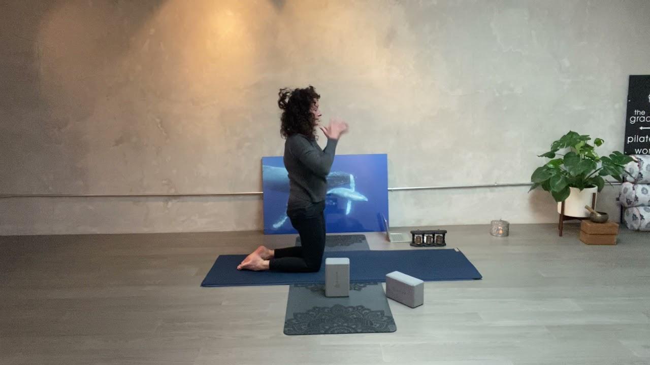 The gracefulyogi 1 hour  restorative yoga class using yoga blocks