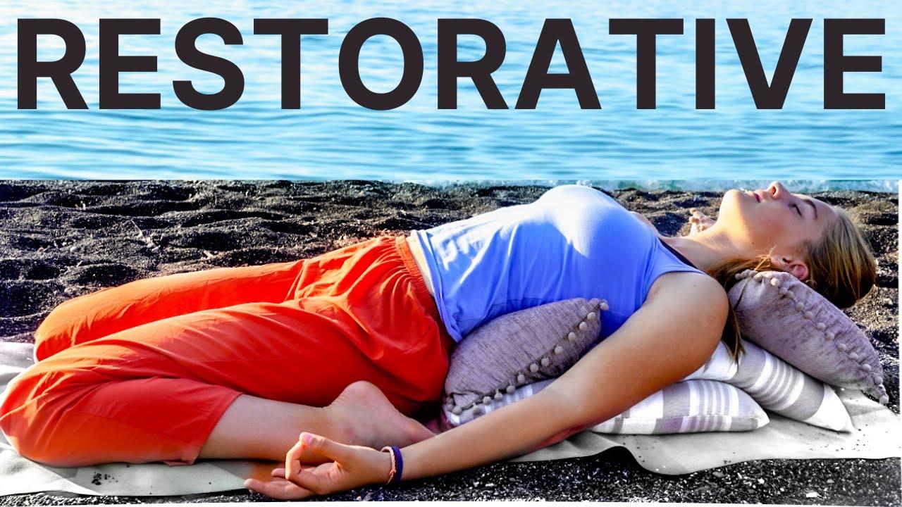 Restorative Yoga Class for Stress (Beginners) Heart Opening Yoga Sequence – Santorini Greece 2021