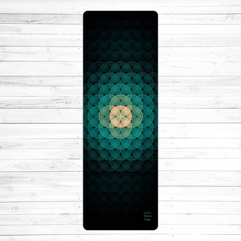 Meditative design custom yoga mat Flower of Life
