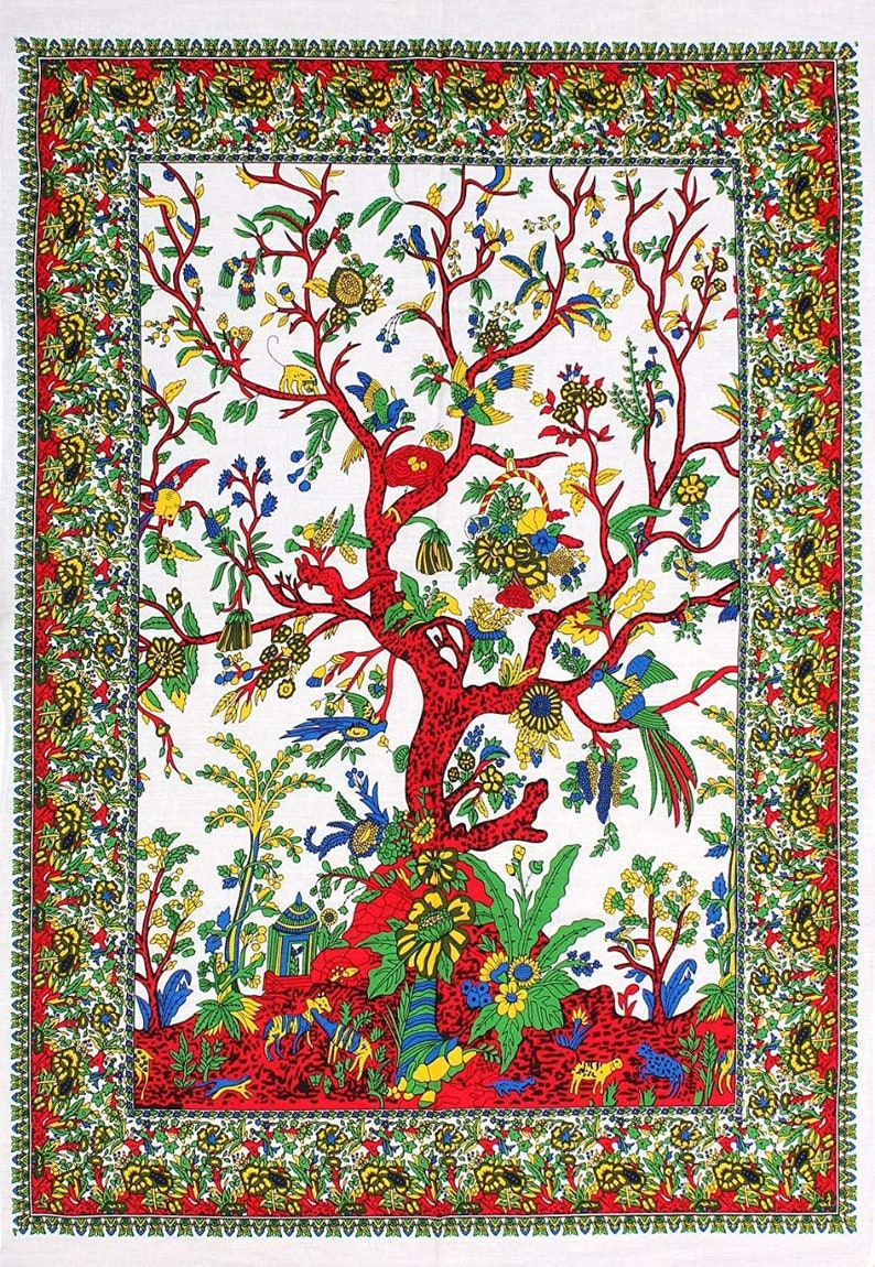 Multicolor Pure Cotton Wall Hanging Tree of Life Arts Tapestry Poster Beach Throw Yoga Mat Table Cover Office Living Room Wall Decoration