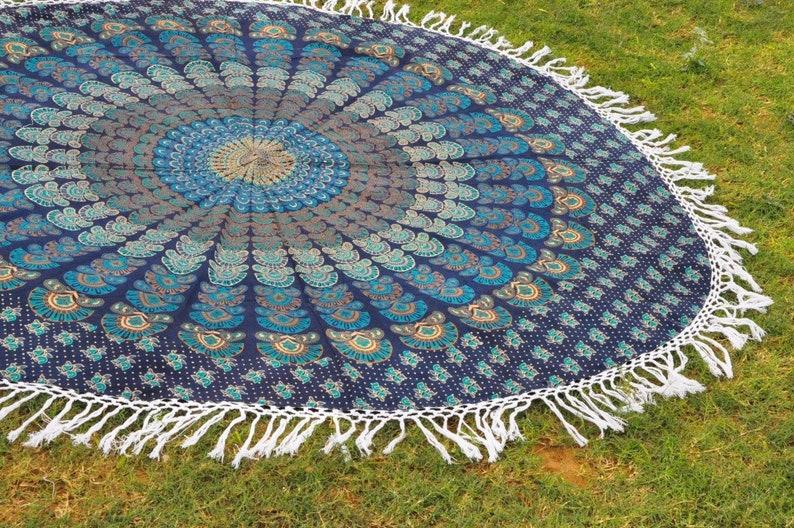 Mandala Round Tapestry Blue Dorm Tapestry Mandala Table Cloth Yoga Mat