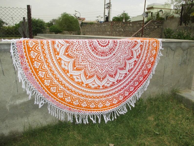 Red Orange Mandala Beach Towel Boho Chic Mandala Roundie Beach Blanket