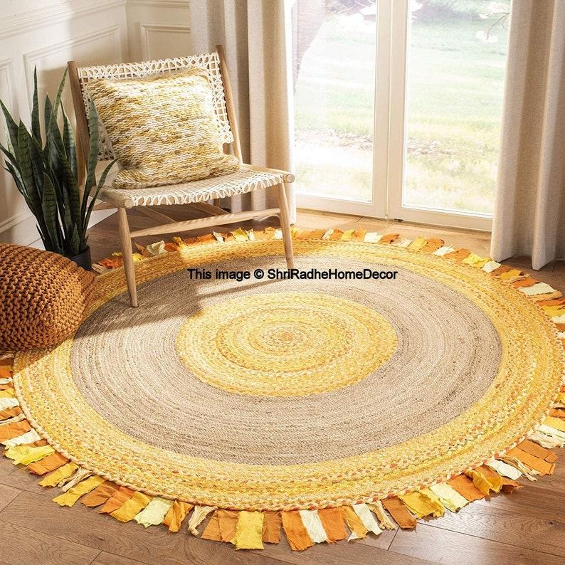 Bohemian area rag rug Round shape braided rug floor rug mat cotton home decor rug Circular meditation mat Yoga mat Jute Rug 3×3 Feet Round