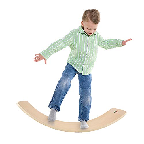 Milestar Wooden Balance Board Waldorf Toys for Kids and Adult Yoga Board Wobble Exercise Board for Trainer or Toddler as gift Indoors &Outdoors