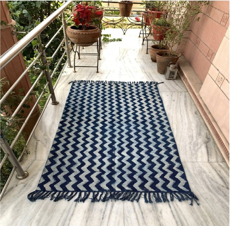 5 x 8, 8 x 10, Handmade Hand-dyed Indigo Rug, White/Indigo, Traditional Indian Dhurrie, Natural color, turkish rug, handcrafted, handwoven