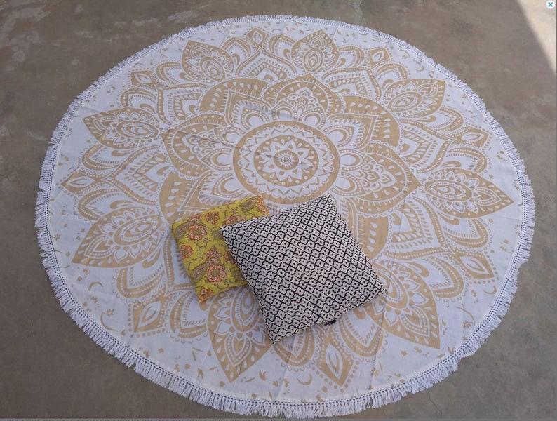 Gold Floral Hippie Bohemian Special Tassels Meditation Cotton Mandala Yoga Mat Table Cloth Wall Decor Roundie Picnic Beach Blanket Throw